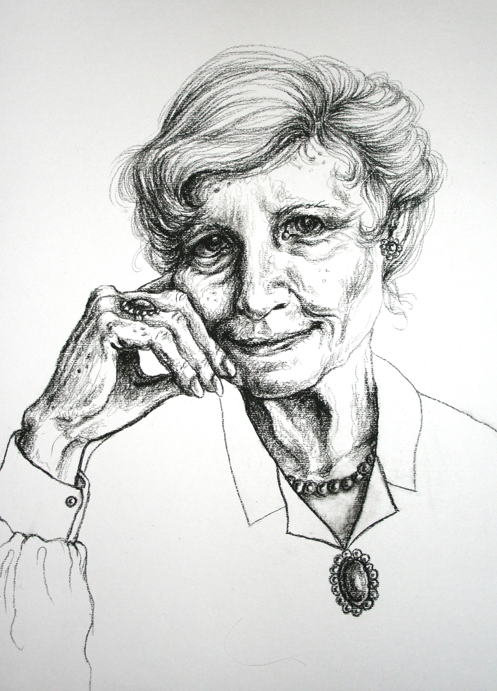 A pencil portrait of the author by the artist Emmi Smid