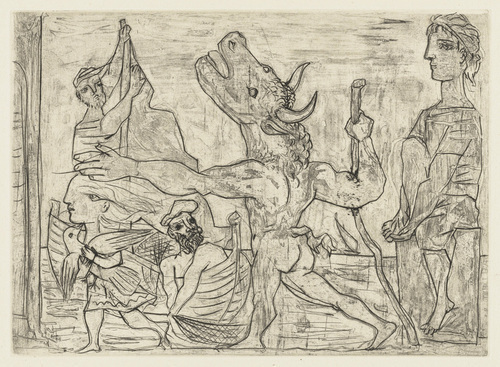 "Picasso ""Blind Minotaur Guided by a Little Girl with a Pigeon"", 1934"