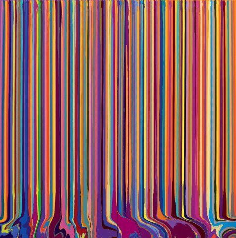 Ian Davenport's Puddle Painting: Pale Lilac, Yellow (after Bonnard), Acrylic, 200x200cm. Royal Academy Summer Exhibition 2012.