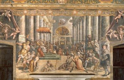 800px School of Raphael Donation of Rome