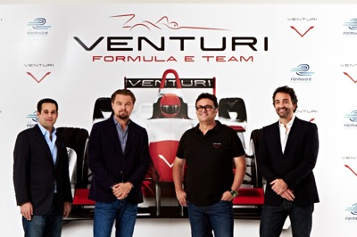 1 Leonardo DiCaprio during the launch of the new Venturi Grand Prix Formula E Team in New York
