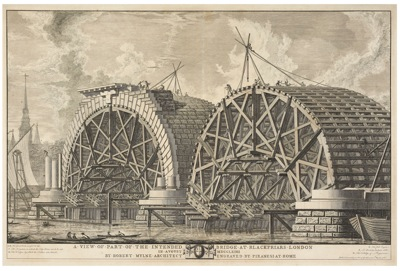 Giovanni Battista Piranesi  View of the building in progress at Blackfriars Bridge 1763A25132