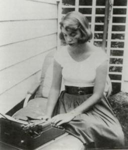Sylvia Plath at her typewriter, 1956