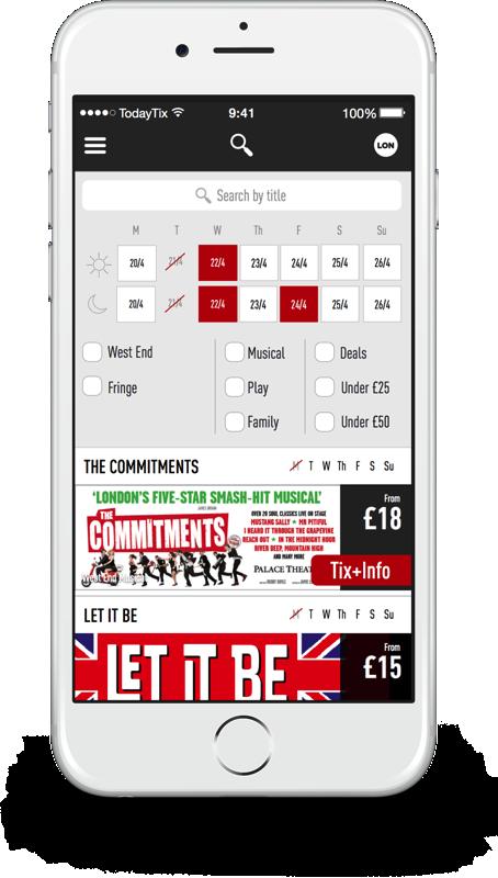 TodayTix London iphone filter screen